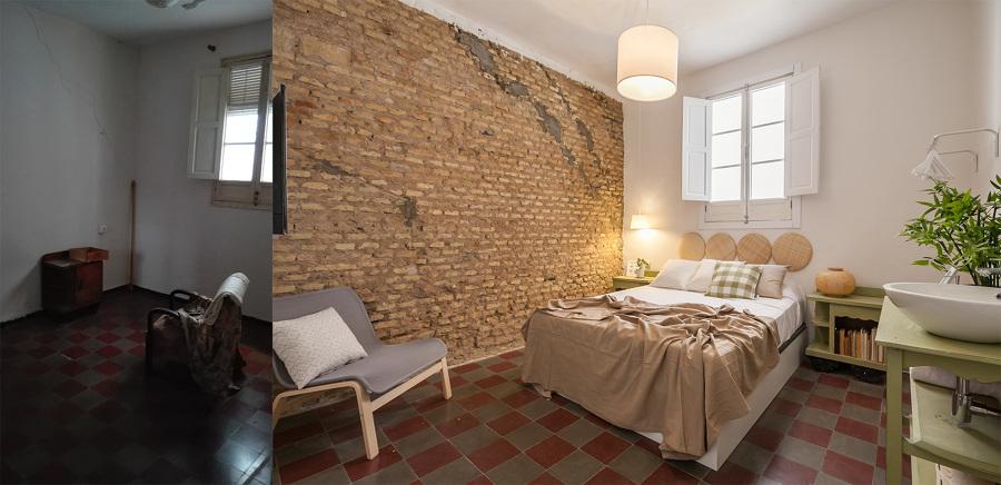 Antes y después de habitación con lavabo incorporado
