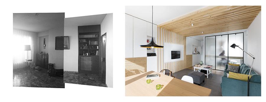 Antes y después de la misma pared del salón