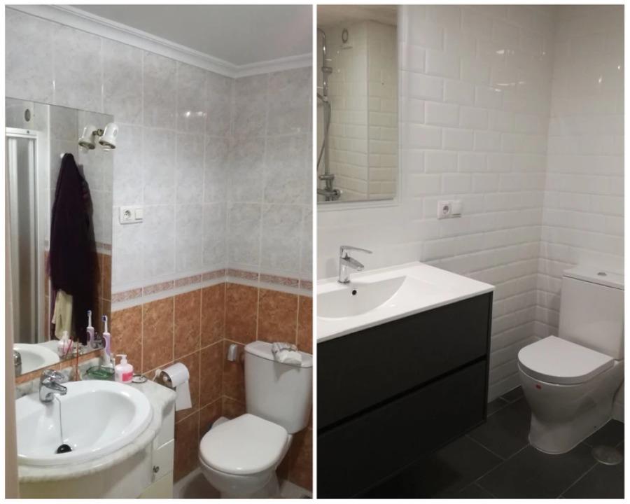Antes y después de reforma en baño