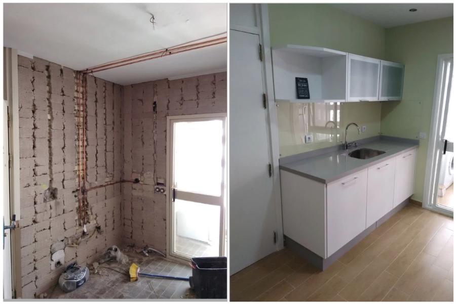 Antes y después de reforma en cocina