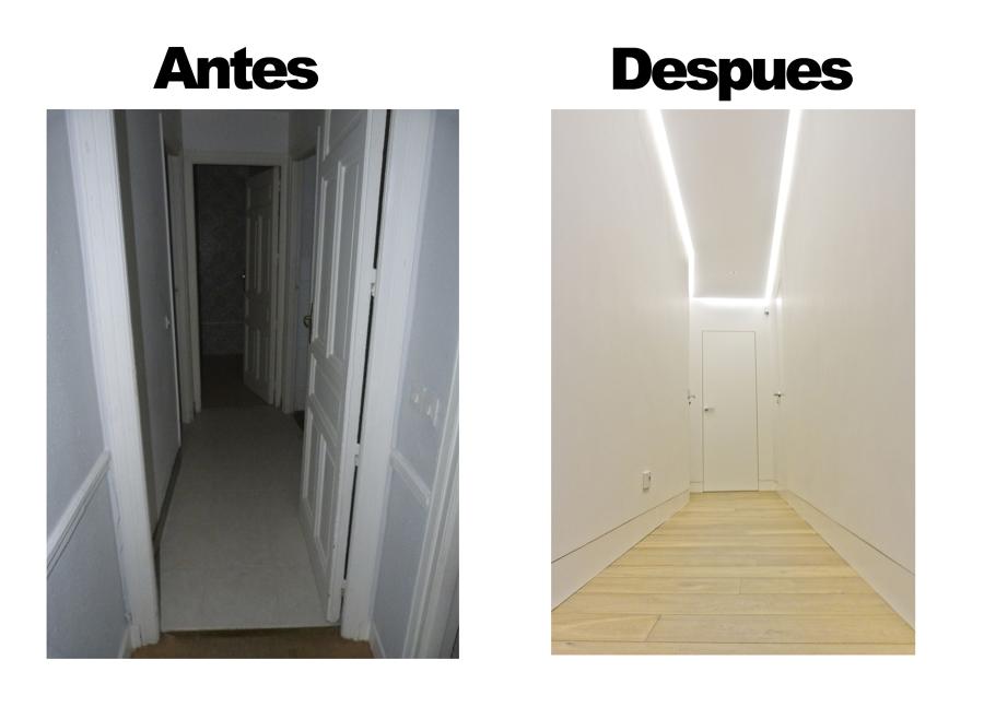 Antes y después pasillo