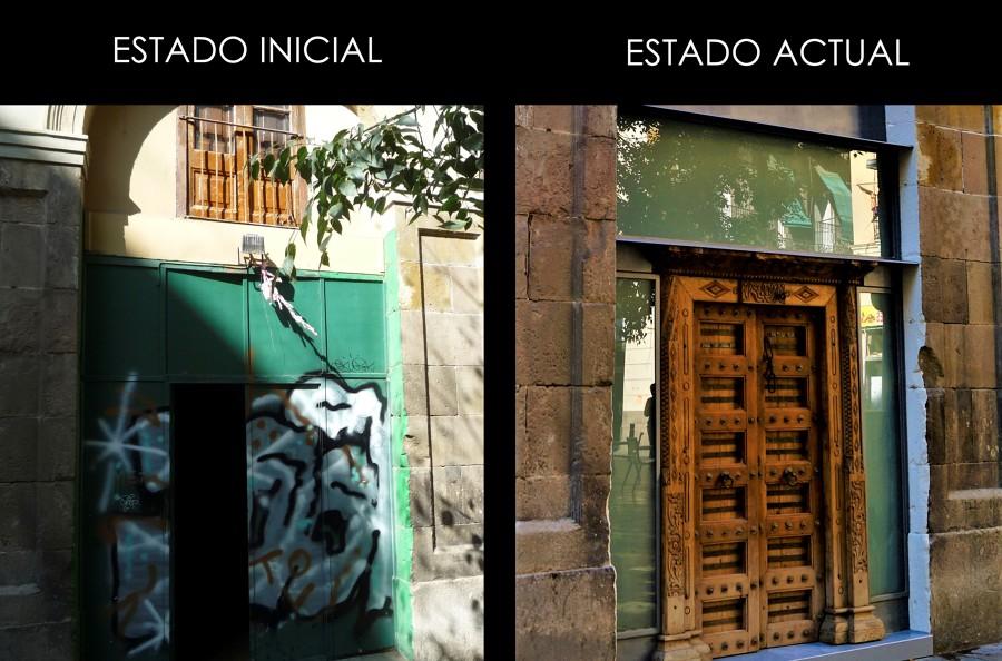 Antes y después puerta entrada