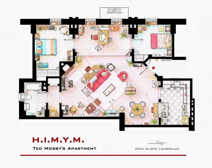 Apartamento de Ted Mosby plano