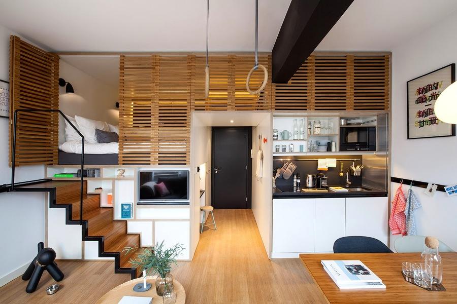 apartamento diáfano con soluciones modulares de almacenaje