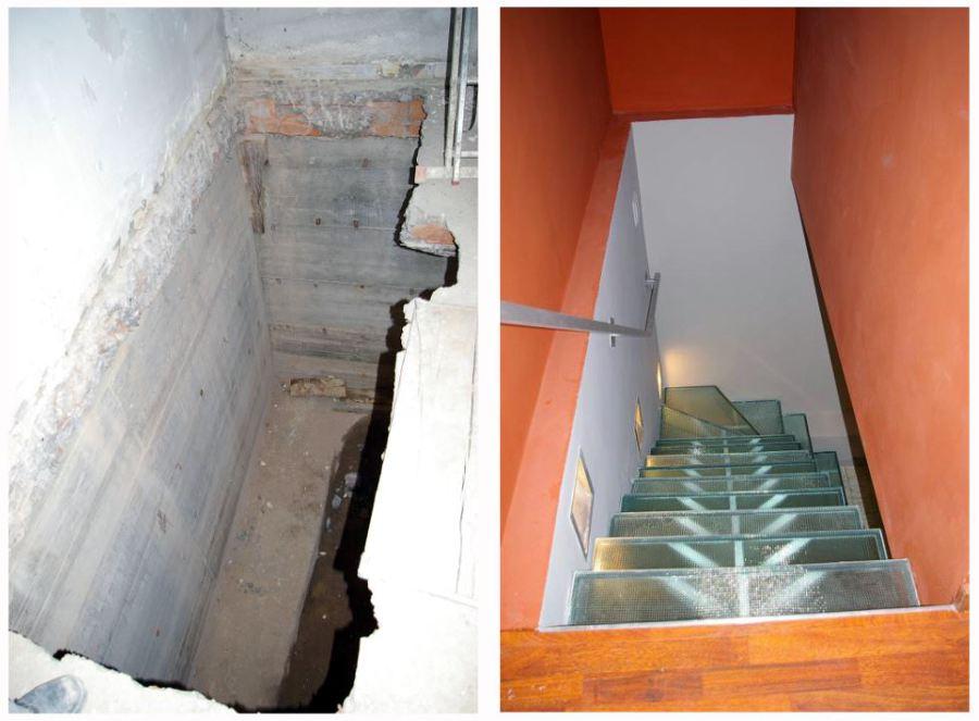 Foto apertura de hueco de forjado para escalera de - Escaleras para sotanos ...