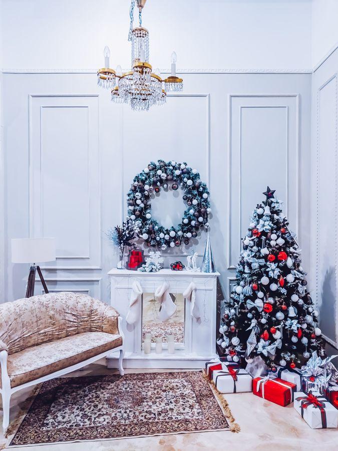 Árbol Navidad rojo verde y blanco