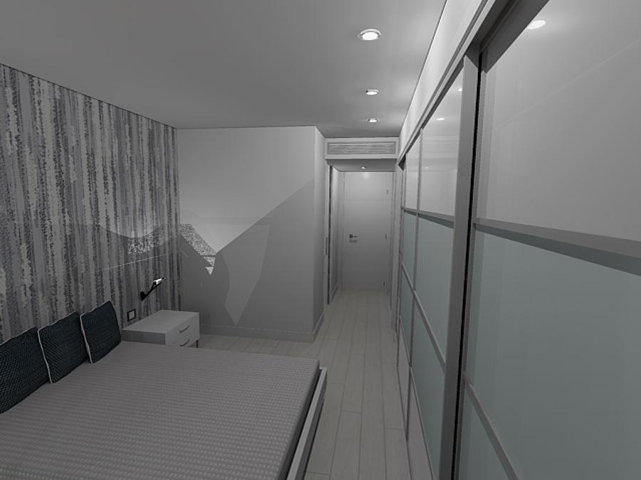 Armarios en habitacion de matrimonio en 3D