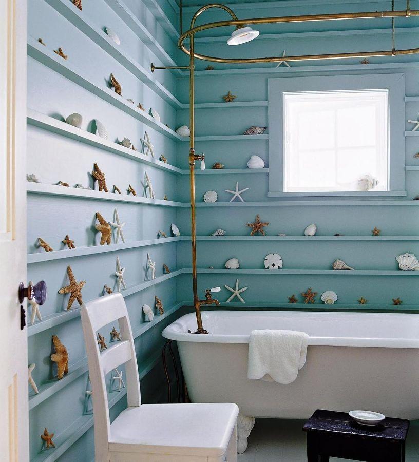 baño que juega con la sensación de rayas horizontales