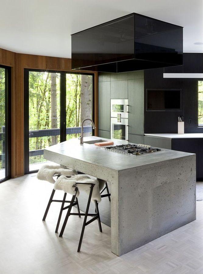 cocina con cemento