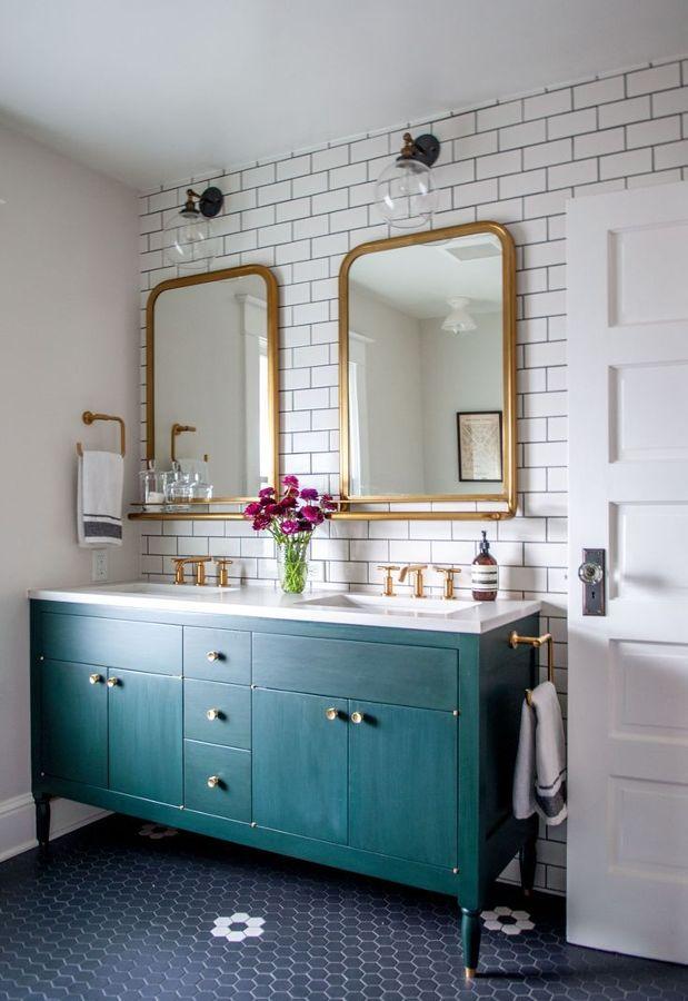 Baño mueble verde