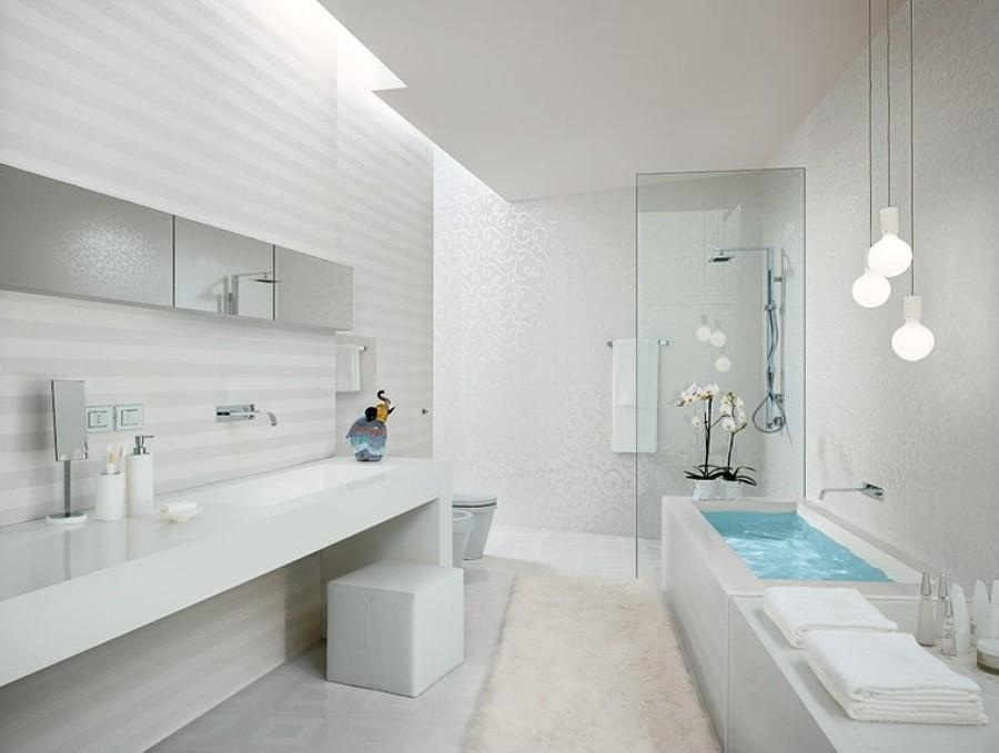 Ideas que puedes robar de los ba os decorados en gris y - Como decorar un bano blanco ...