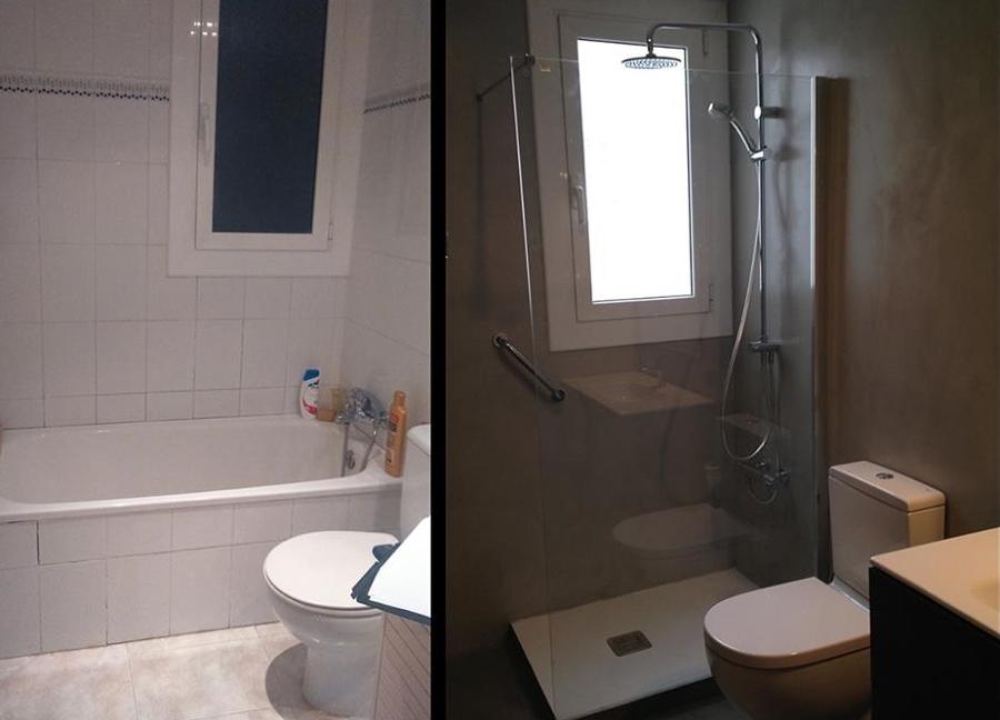 Foto ba o antes y despu s de microcemento indalcret for Bano de color antes y despues