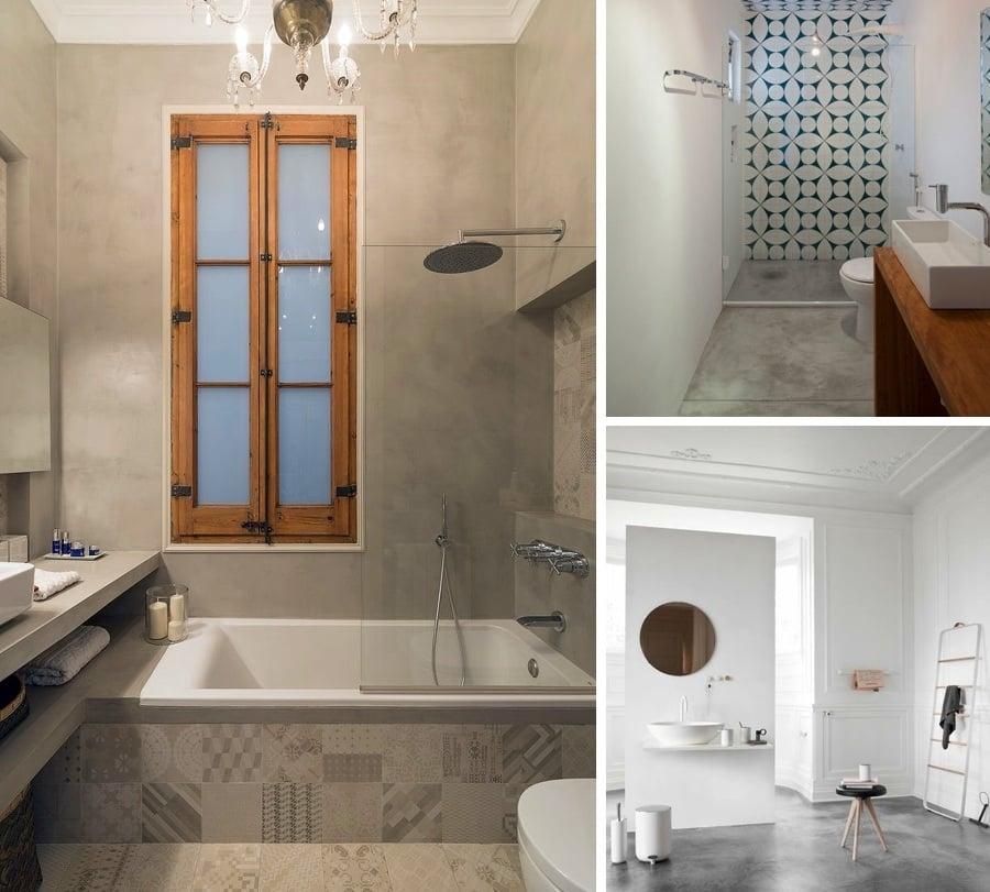 Baldosas Baño Rustico:baño cemento combinado con baldosas hidráulicas