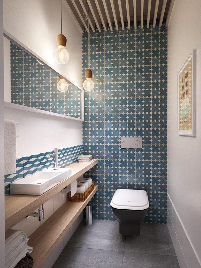 baño con azulejos de inspiración geométrica
