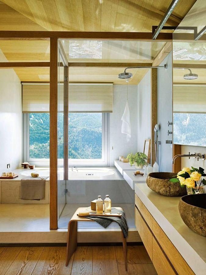 Lavabos para ba o de piedra for Banos con dos lavabos