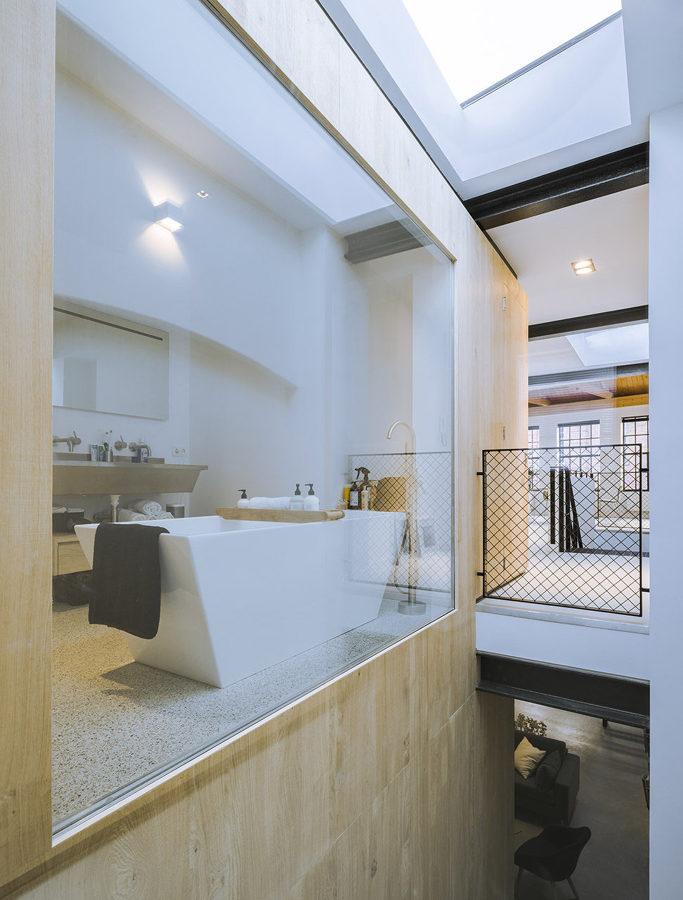baño con pared de vidrio