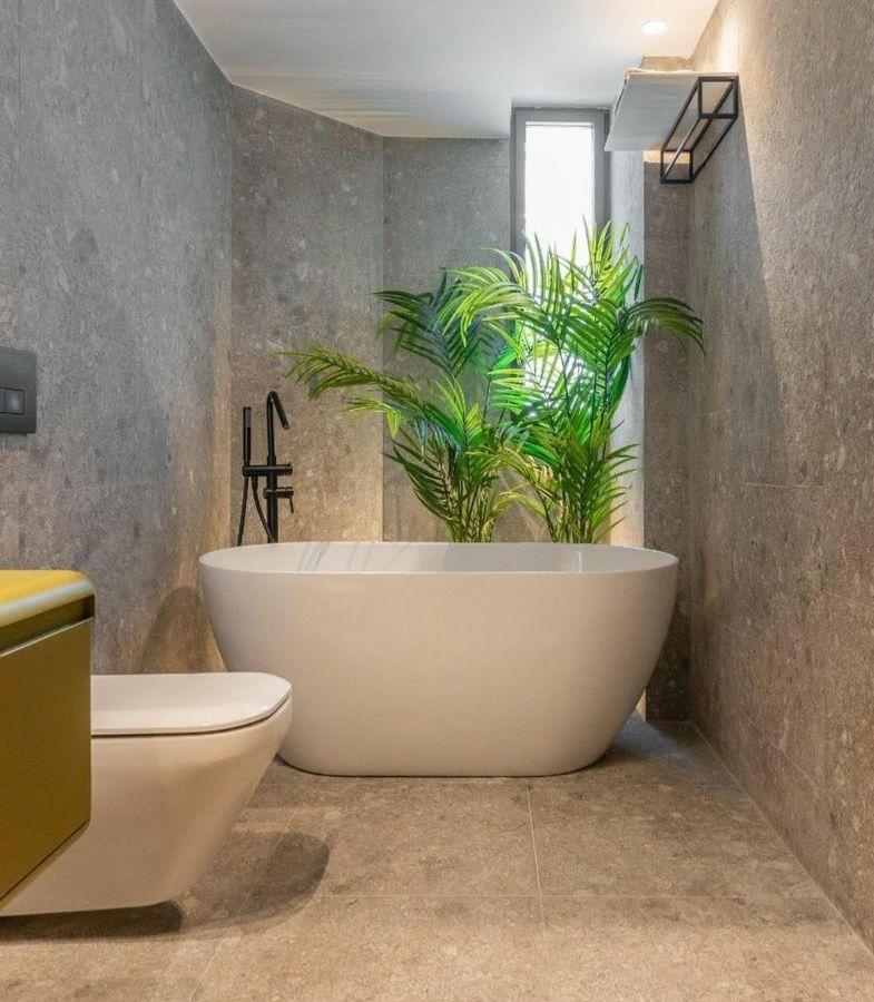 Baño con planta