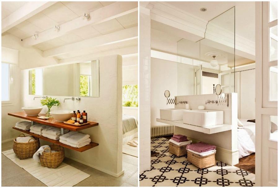 Foto ba o divisi n con murete de momocca deco design - Altura mueble bano ...