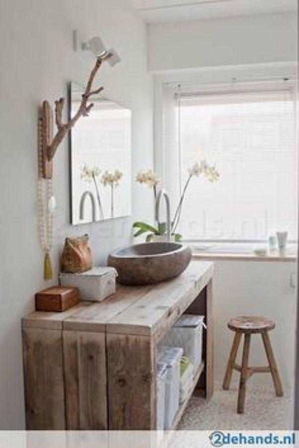 Foto ba o estilo rustico blanco madera de decoraciones y for Decoracion hogar lleida