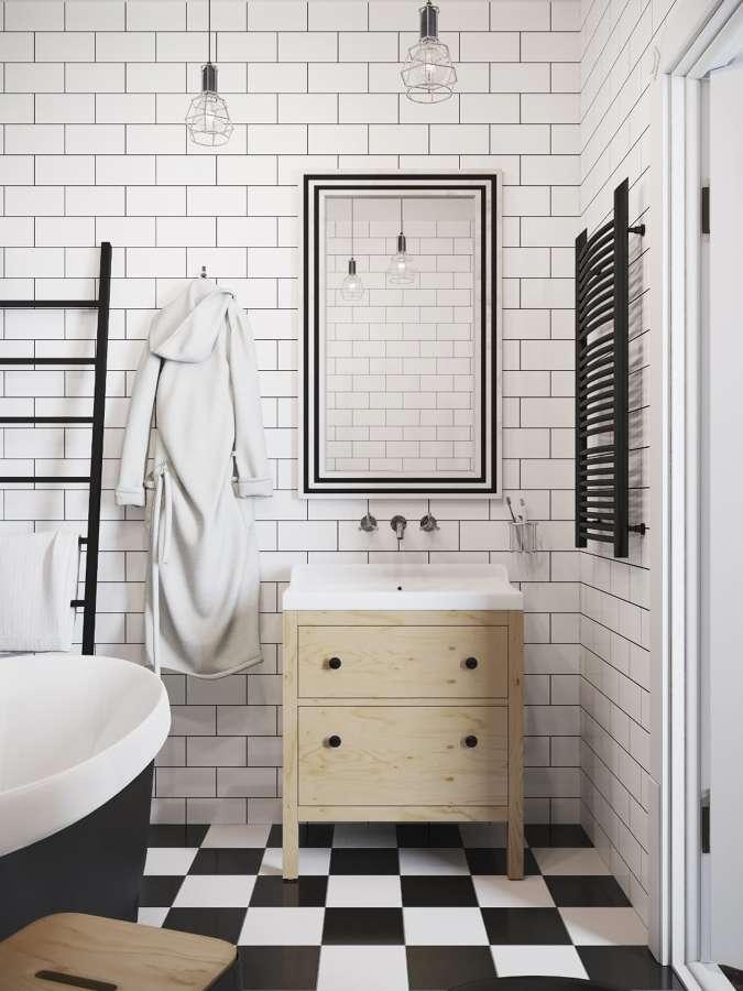 Baño estilo vintage con suelo damero