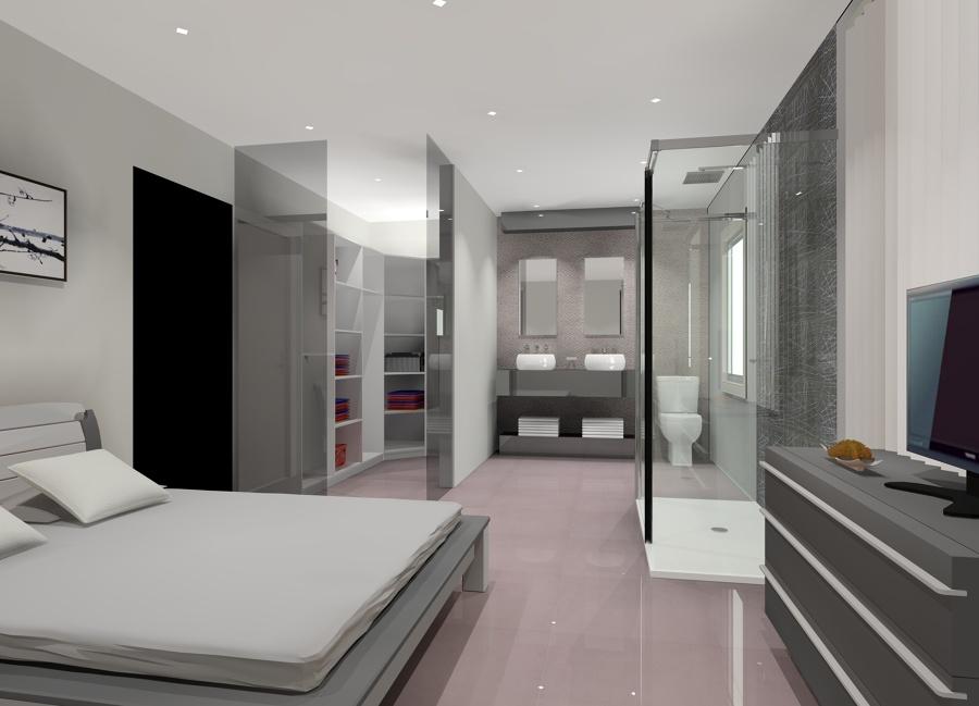 Baño Abierto Al Vestidor:Dormitorio con Baño Integrado
