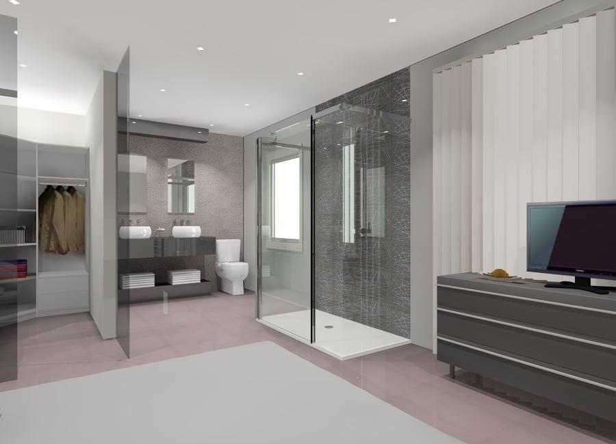 Dormitorio con ba o integrado ideas reformas ba os for Disenar mi habitacion 3d