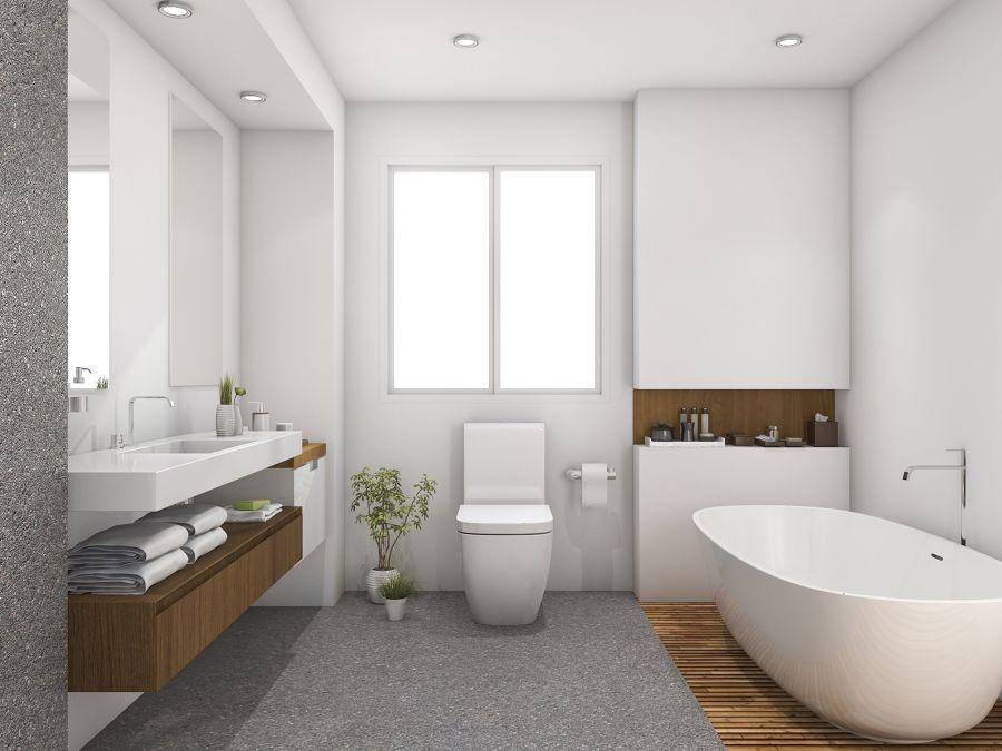Baño luminoso con detalles de madera