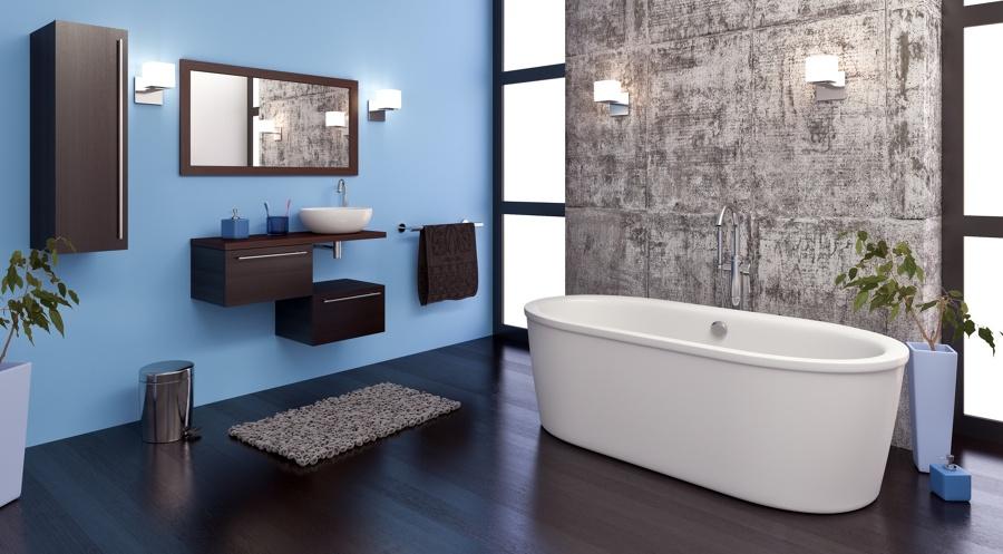 Baño moderno con pared piedra