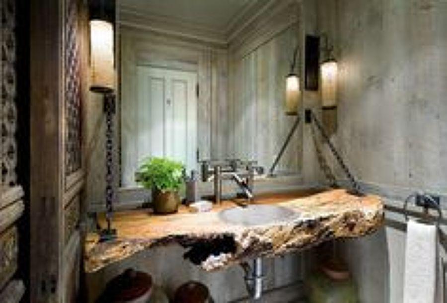 bao olivo lavabo con encimera de madera de olivo