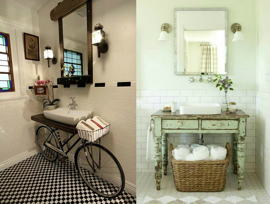 Muebles Baño Vintage:Baño vintage y con bici