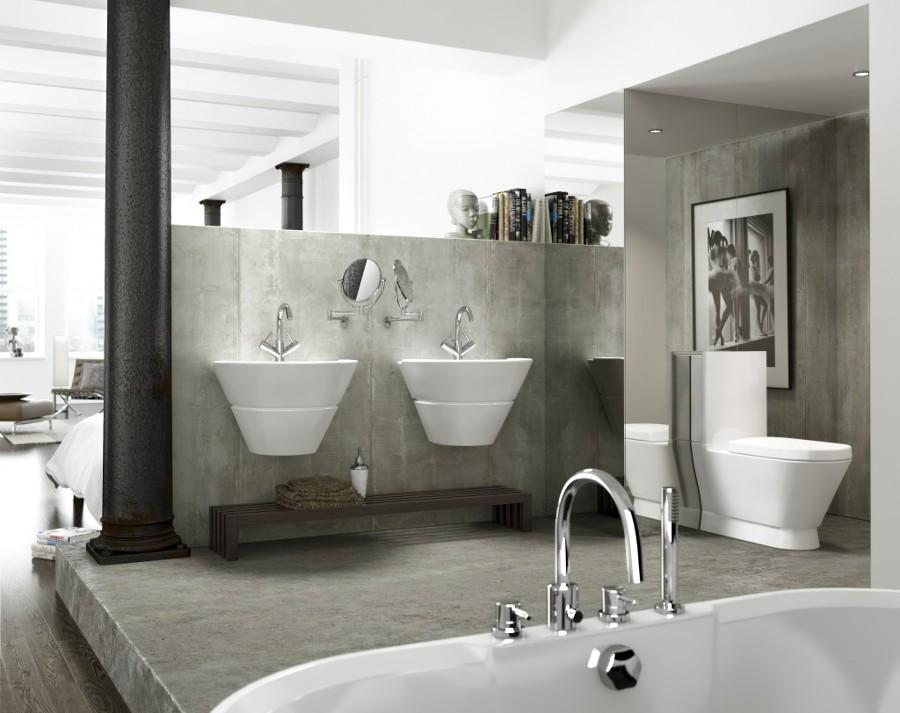 Ba os de cemento una opci n asequible y duradera ideas - Suelos para cocinas y banos ...