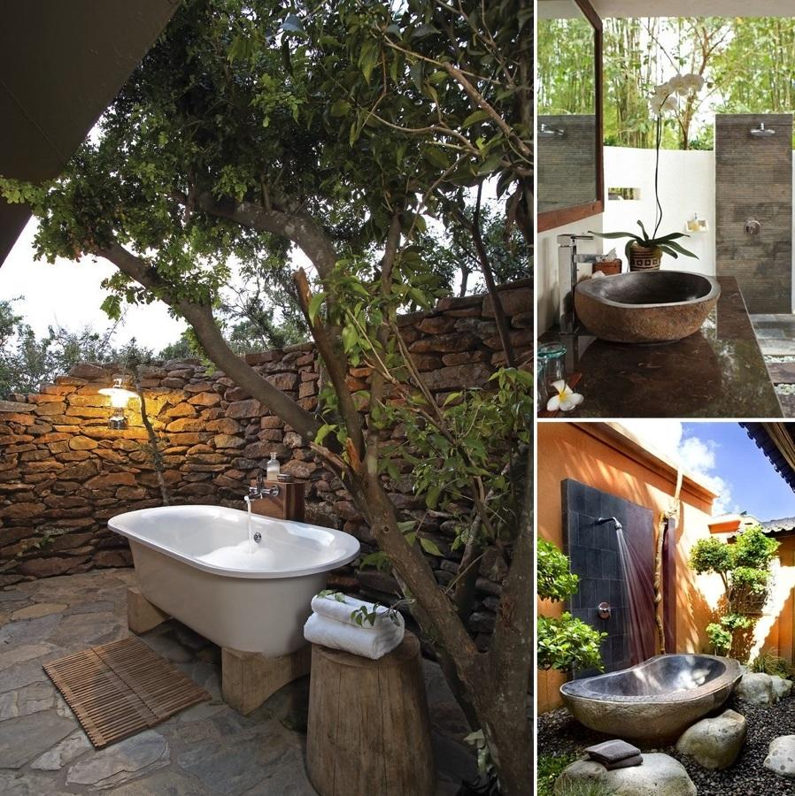 Baños en el jardín