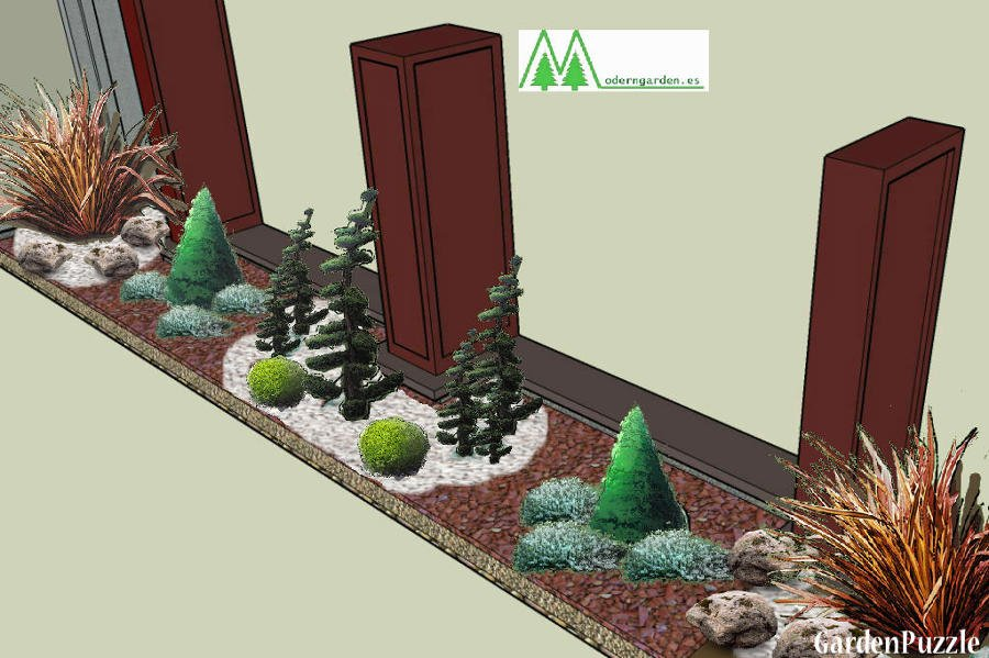 Foto boceto para decoraci n de jardinera de moderngarden for Paisajismo de terrazas
