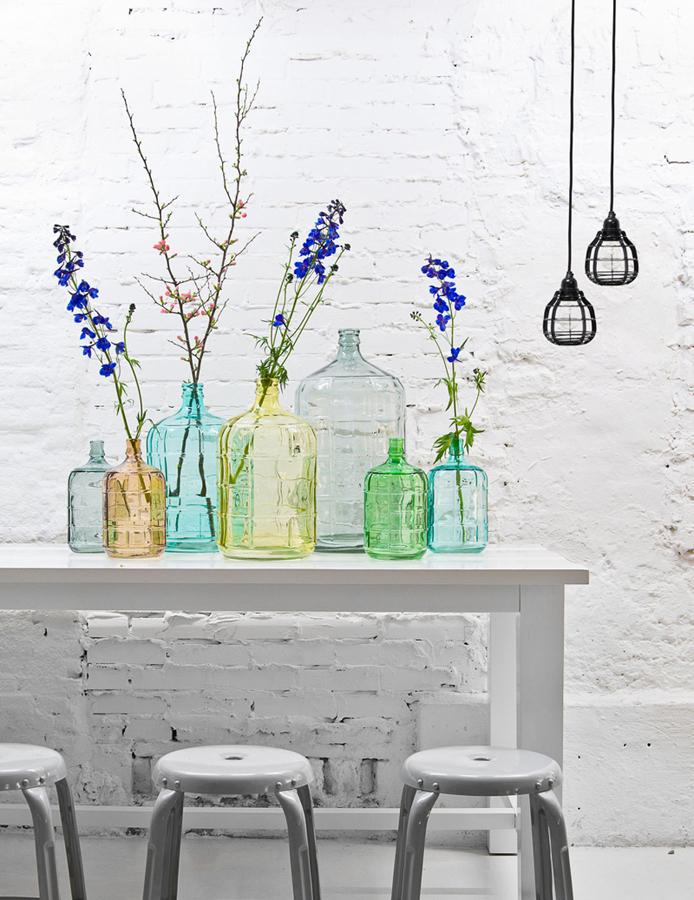 botellas floreros