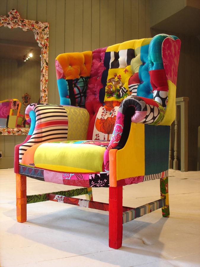 Foto butac n tapizado con telas de colores de marta - Telas para tapizar sillones modernos ...