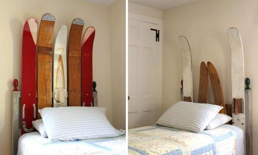 Cabecero de cama hecho con tablas de snow