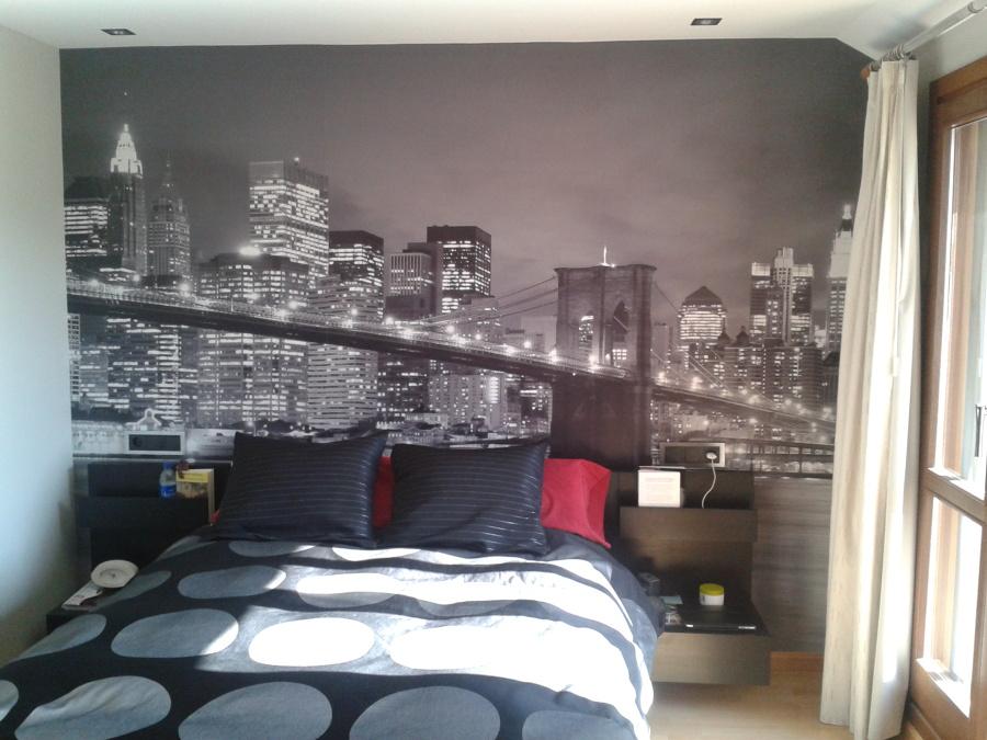 Foto cabezal dormitorio con foto mural de pinturas y - Murales para dormitorios ...