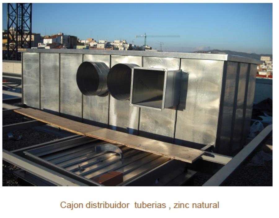 Cajon distribuidor tuberias, zinc natural