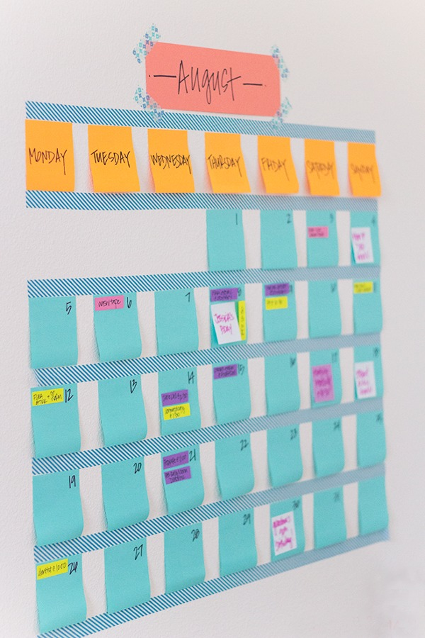 calendario diy de washi tape para la pared