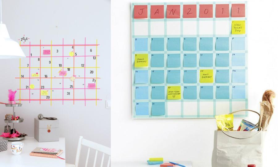 calendarios washi tape de colores para poner en la pared
