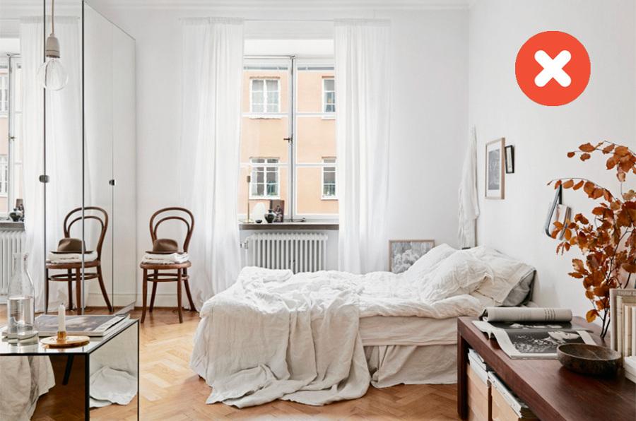 cama con sábanas sin planchar