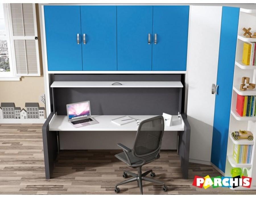 Mobiliario juvenil con cama nido convertible en escritorio for Cama escritorio