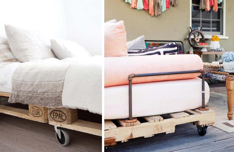 Camas hechas con palets y felices sue os ideas decoradores - Ruedas para camas ...