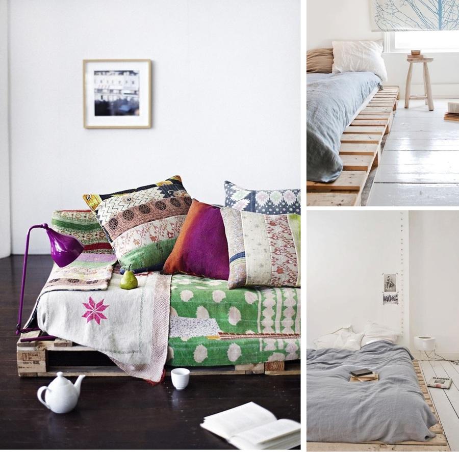 camas palets en el suelo