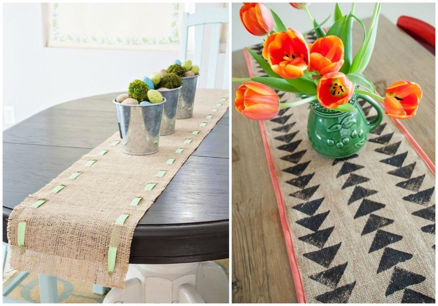 Foto camino mesa tela de saco de ecodeco mobiliario for Tela para manteles de mesa