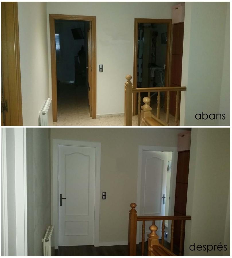 Canvi i resultat amb el paviment i lacat de portes