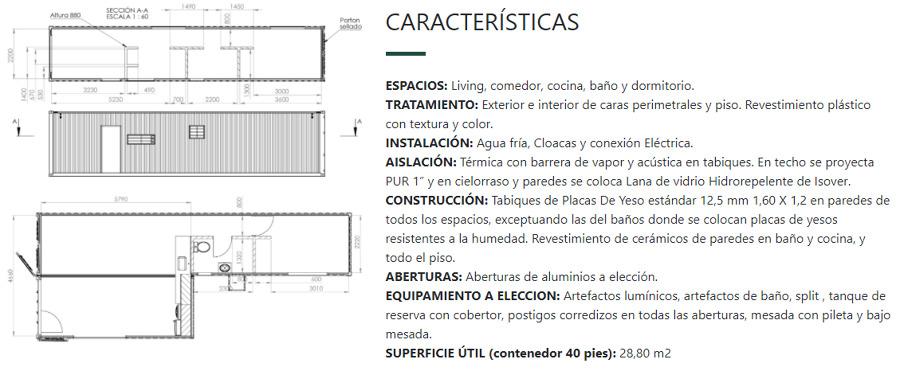 Características vivienda container.