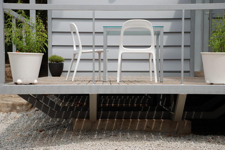 Casa 3x3 Detalle porche y cimentación elevada