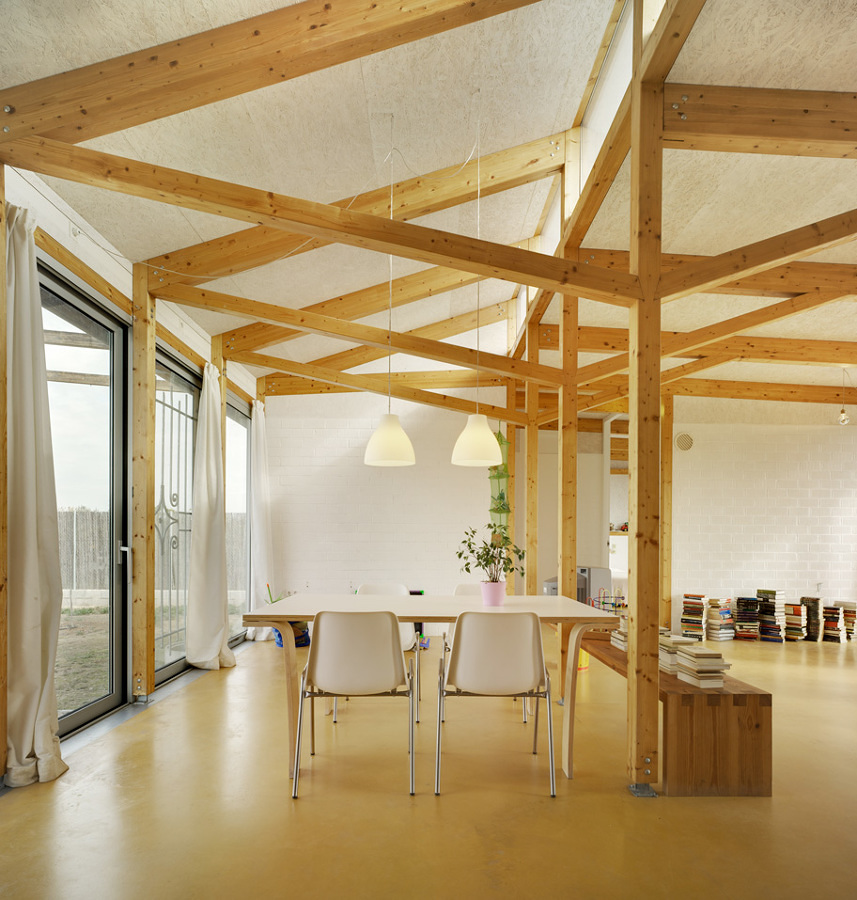 Casa con estructura de madera