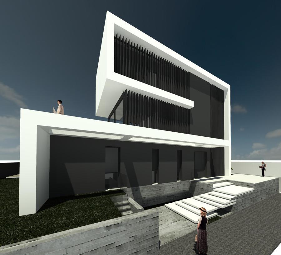 Fachadas de la entrada con escalera de diseño, intercala ventanales y volúmenes